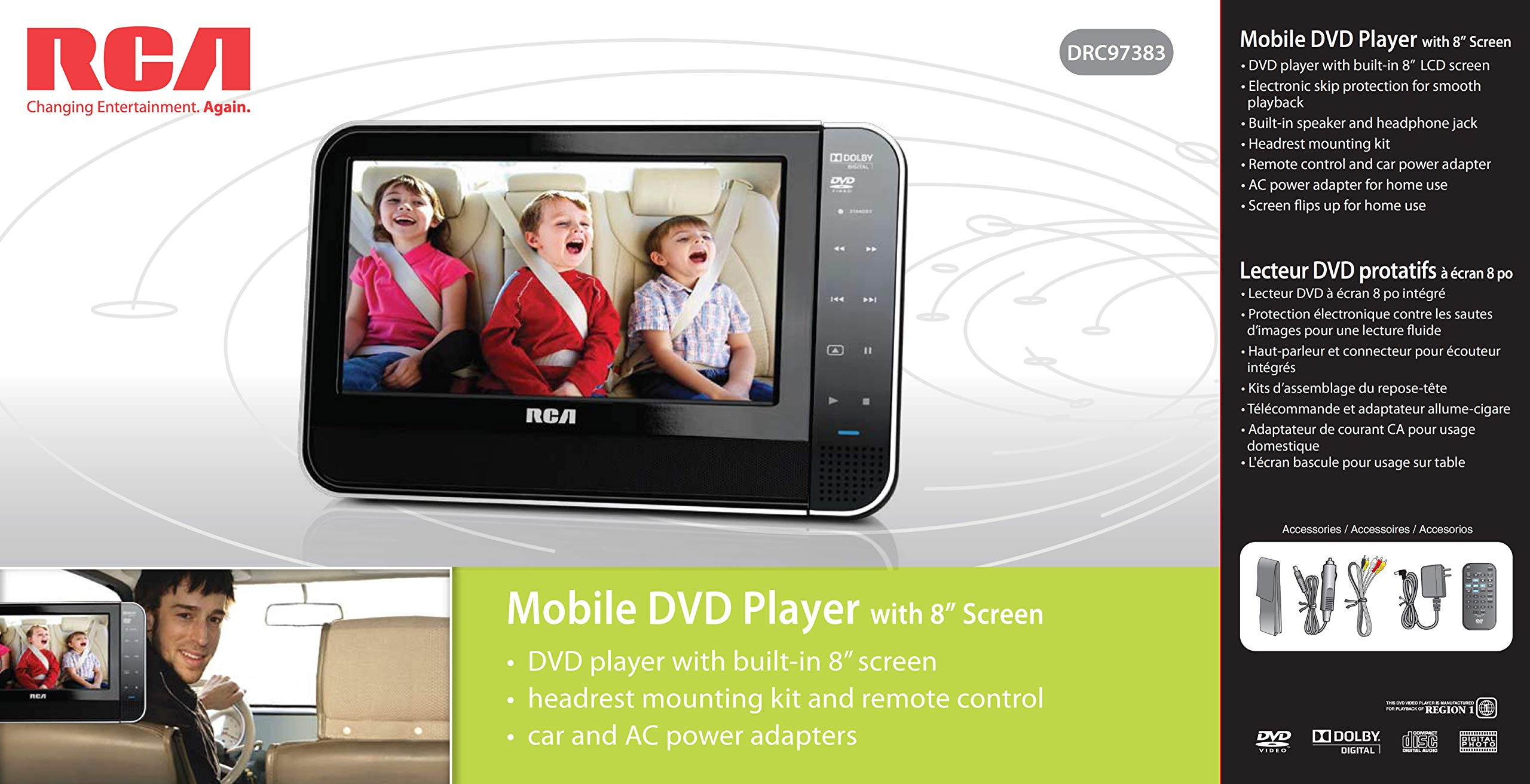 RCA 8 Inch Mobile DVD Player with Headrest mounting kit   Remote Control   Car and AC Power adapters by RCA (Image #3)