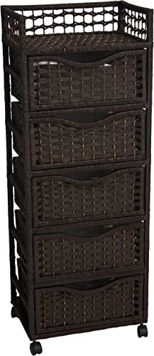 Oriental Furniture 46 Natural Fiber Chest of Drawers on Wheels – Mocha