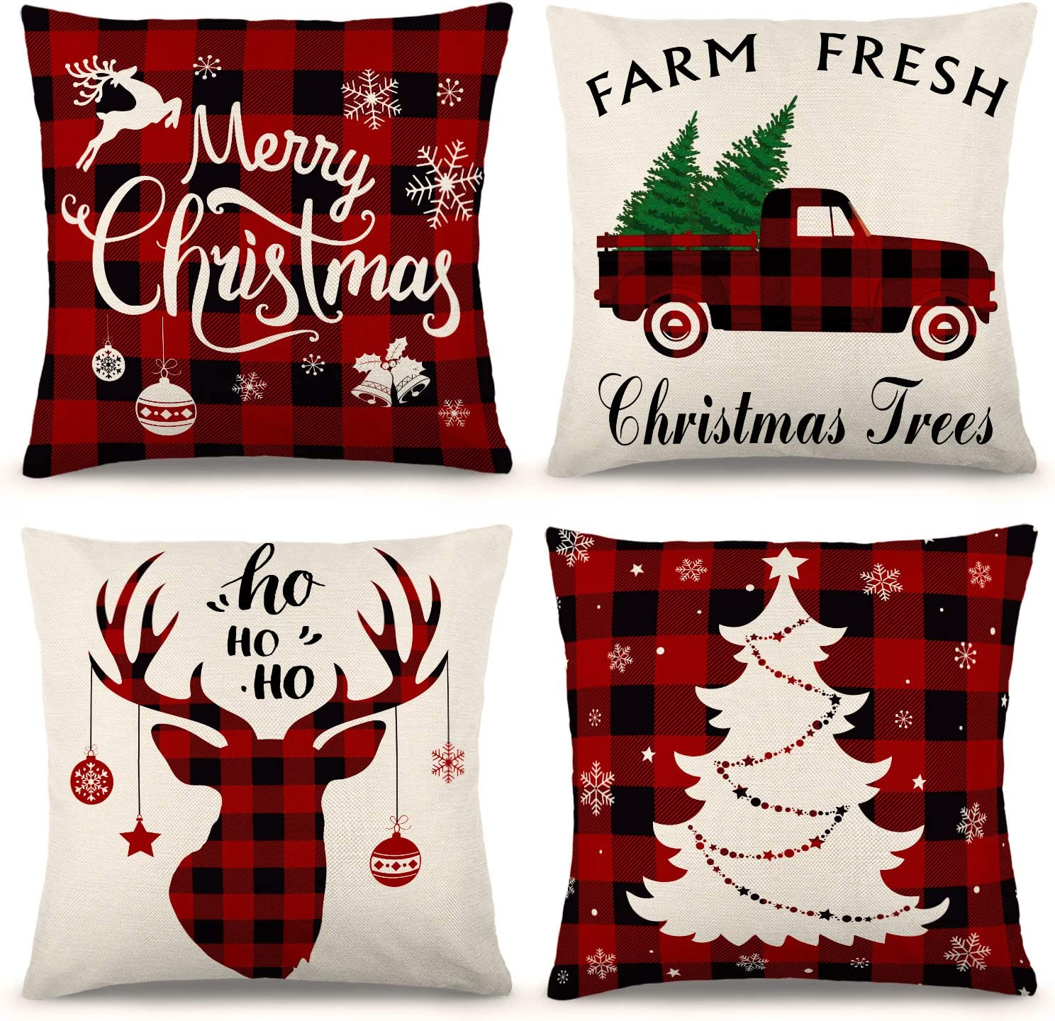 Amazon Com Ygeomer Christmas Pillow Covers 18 18 Inch Set Of 4 Farmhouse Black And Red Buffalo Plaid Pillow Covers Holiday Rustic Linen Pillow Case For Sofa Couch Christmas Decorations Throw Pillow Covers Home