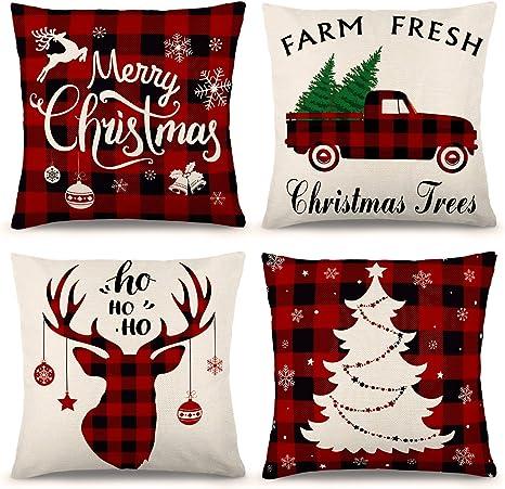 Christmas Cotton Linen Pillow Cushion Throw Case Cover Home Decor XMAS Gifts CA
