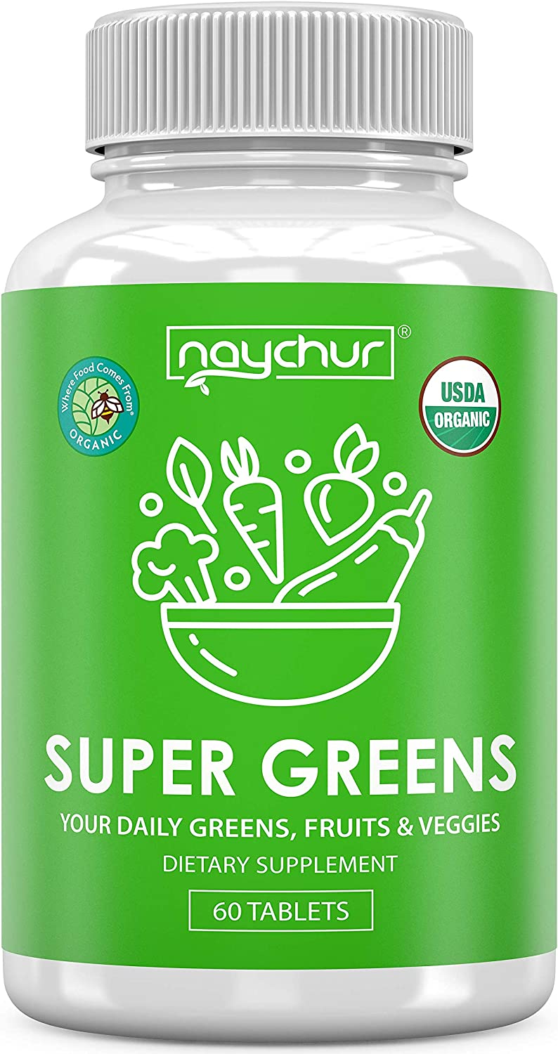 Organic Greens Powder Tablet - Super Greens Juice Superfood Powder Capsules With Spinach Kale Broccoli Green Onions Celery Barley Grass Spirulina - Morning Complete Mixed Greens Antioxidant Supplement
