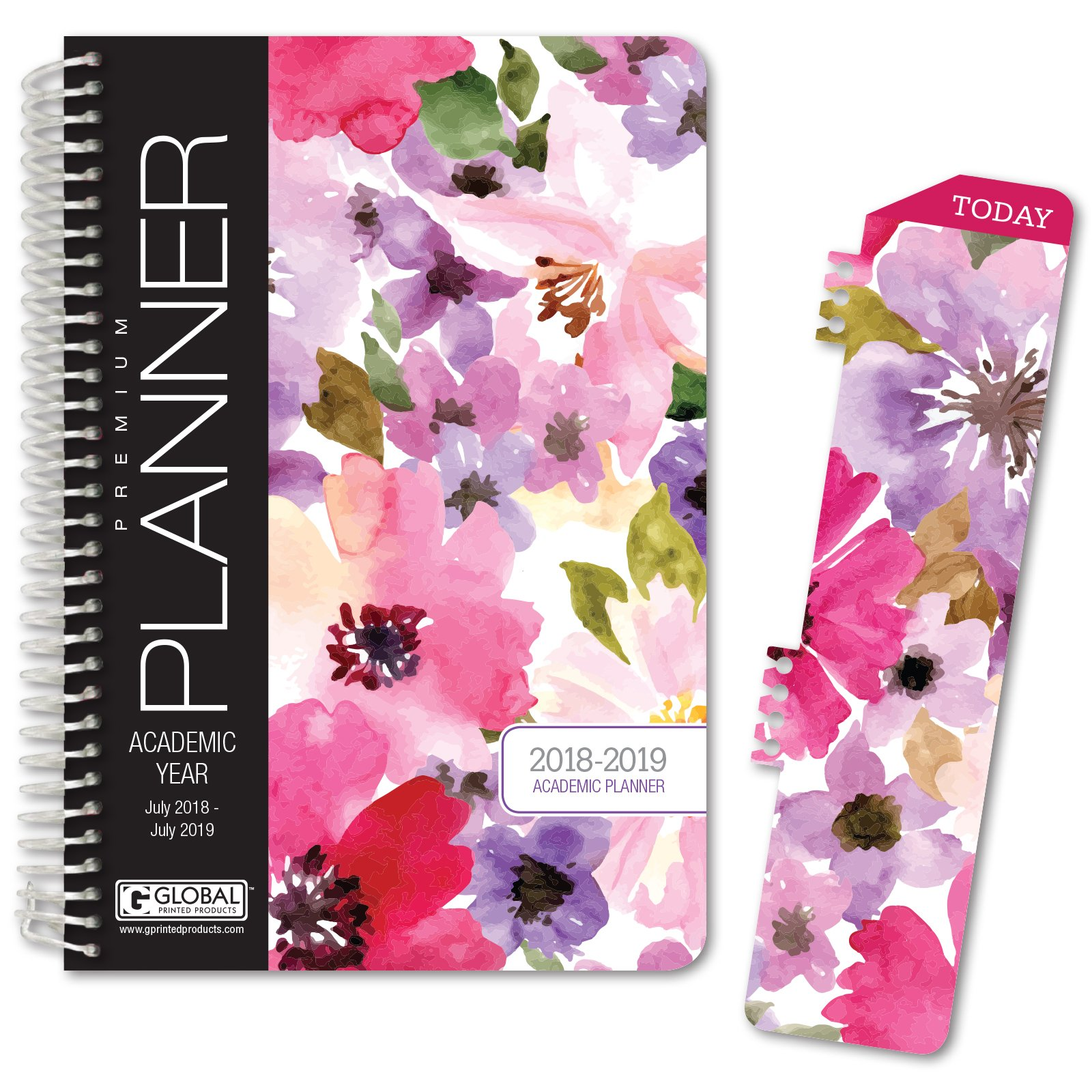 HARDCOVER Academic Year Planner 2018-2019 - 5.5''x8'' Daily Planner/Weekly Planner/Monthly Planner/Yearly Agenda. Bonus Bookmark (Spring Floral)