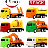 Clastik Construction Unbreakable ABS Plastic Friction Powered Kids Automobile Toy-Set - Dumper + JCB + Cement Mixer + Transport Truck Set -Set of 6
