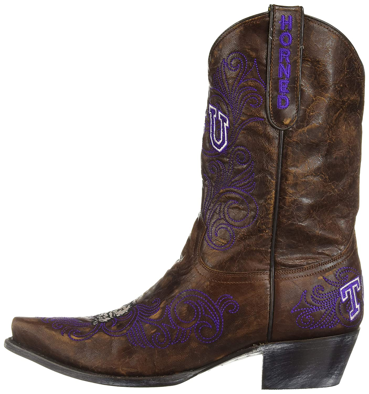 classic shoes united kingdom good selling Amazon.com   Ladies Texas Christian University Brass Leather Boots ...