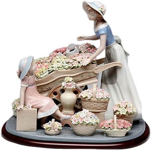 Fine Porcelain Figurine – Lady with Flowers Wagon