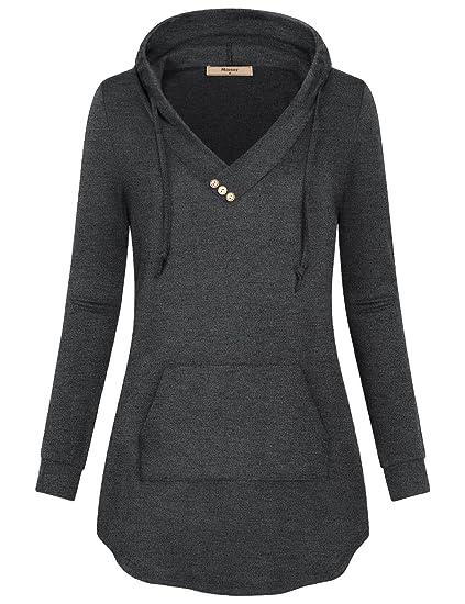 Miusey Women's Cowl Neck Casual Long Sleeve Hoodie Pullover Sweatshirt with Kangaroo Pocket