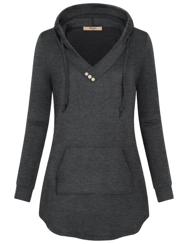06c7111097e ... Autumn Long Sleeve Casual Wear Drawstring Hoody Shirts Baggy Easy Fit  Cozy Soft Girly Sweatshirts Vibrant Plain Flattering Blouse Charcoal Black S