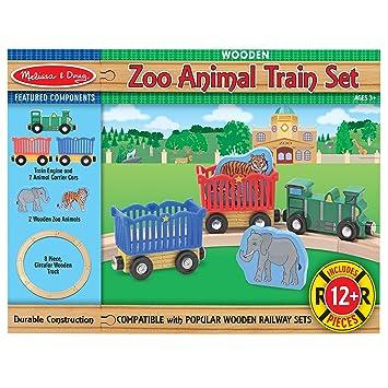 Melissa Doug Zoo Animal Wooden Train Set 12 Pcs