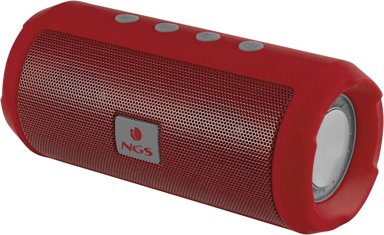 NGS Altavoz Bluetooth Rojo Roller Tumbler - Altavoz portátil con USB, Micro SD, Radio FM, Manos Libres y batería de 1200mAh