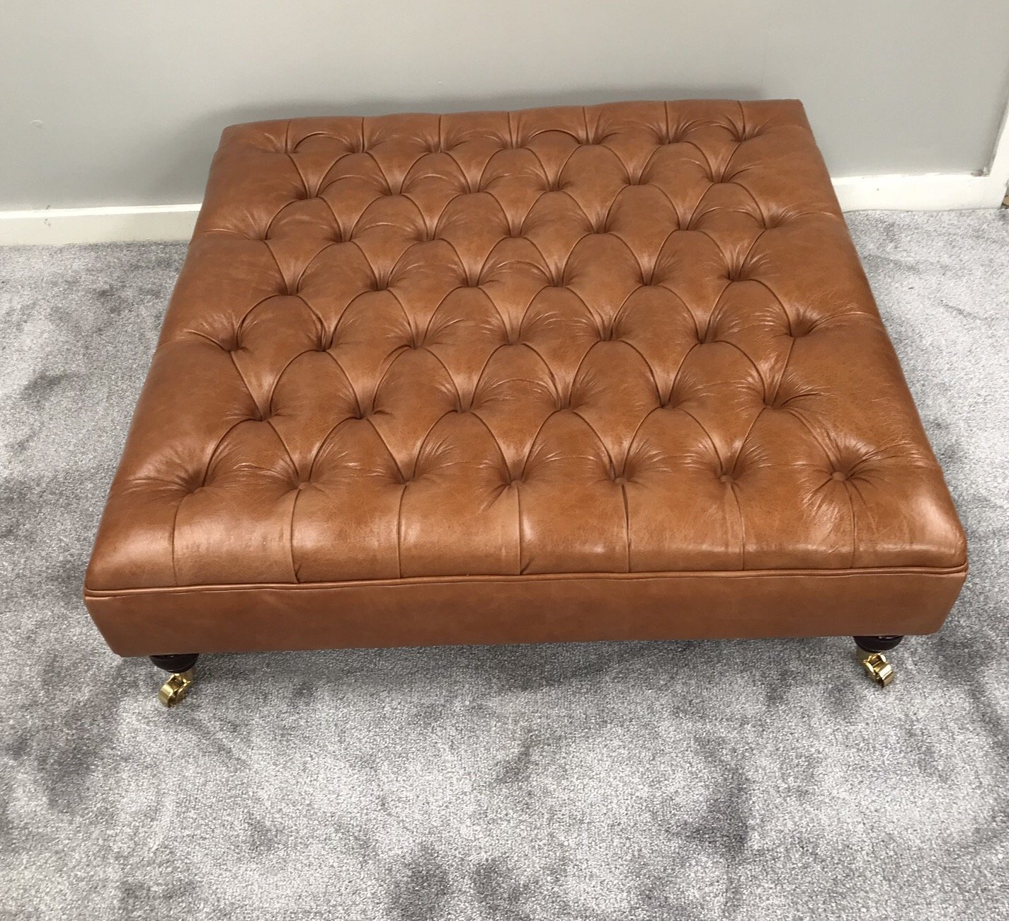 Extra Large Genuine Leather Chesterfield Footstool Deep Buttoned Ottoman Pull Up Leather Coffee Table Amazon Co Uk Handmade [ 1300 x 1425 Pixel ]
