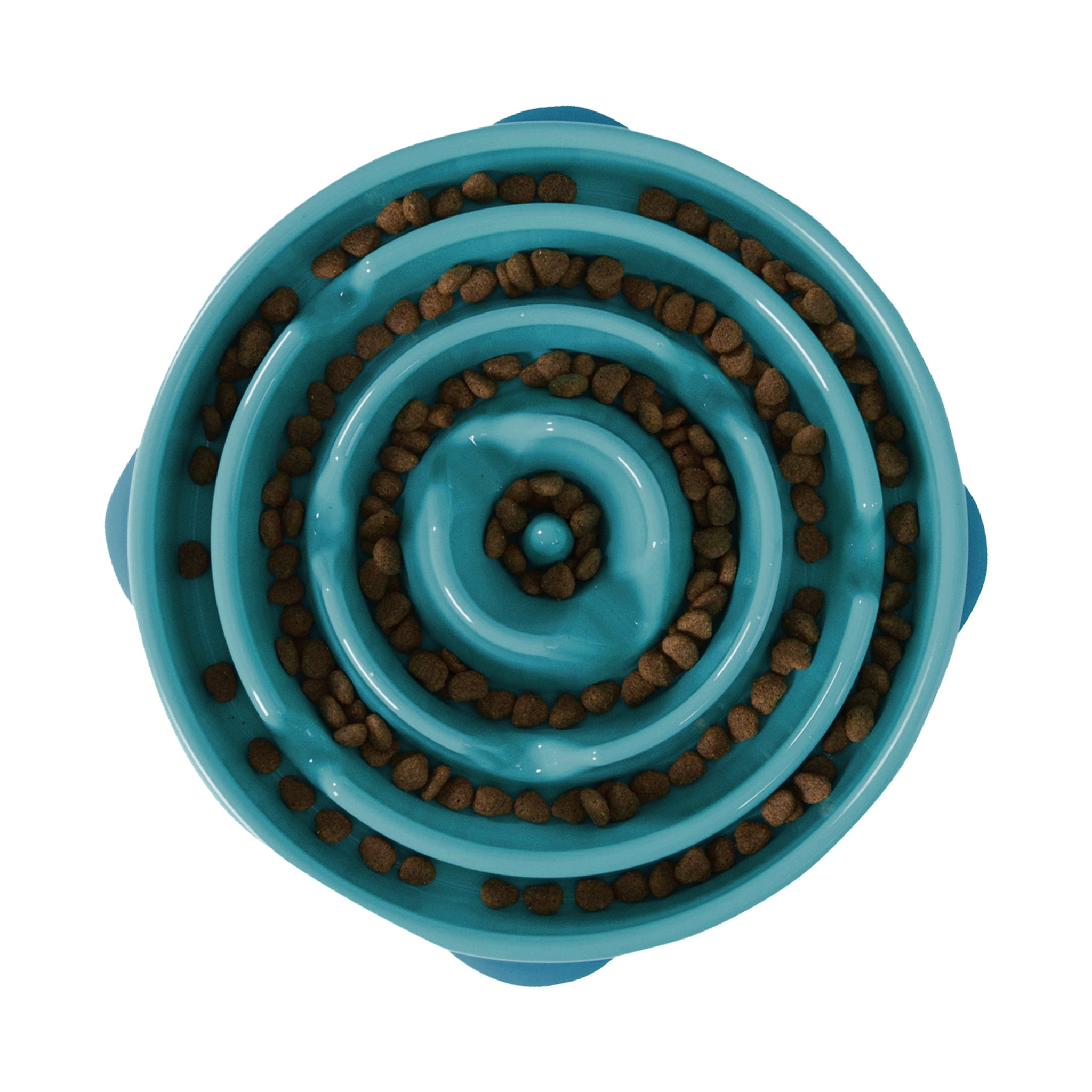 Outward Hound Slow Feeder Dog Bowl Fun Feeder Stop Bloat Bowl for Dogs, Large, Teal