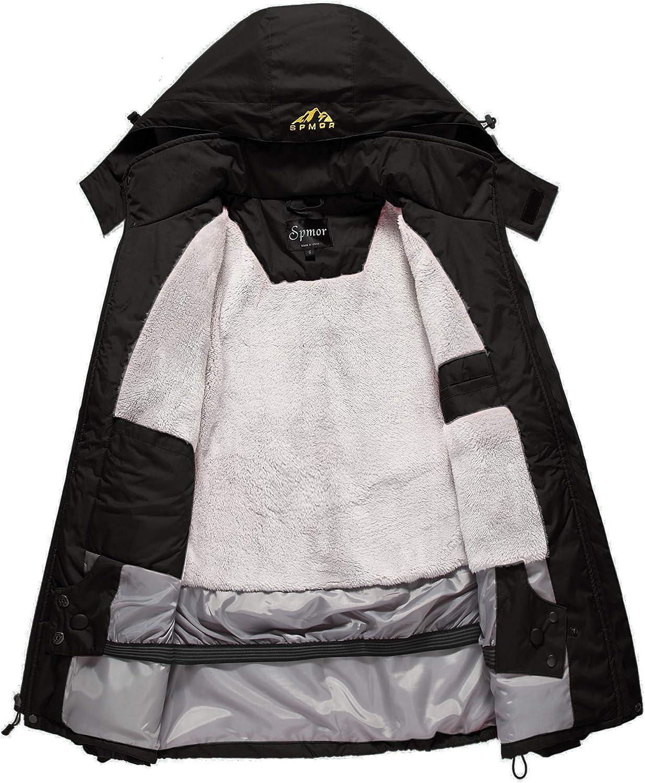 Spmor Mens Ski Jacket Waterproof Windproof Mountain Rain Jacket Hooded Coat