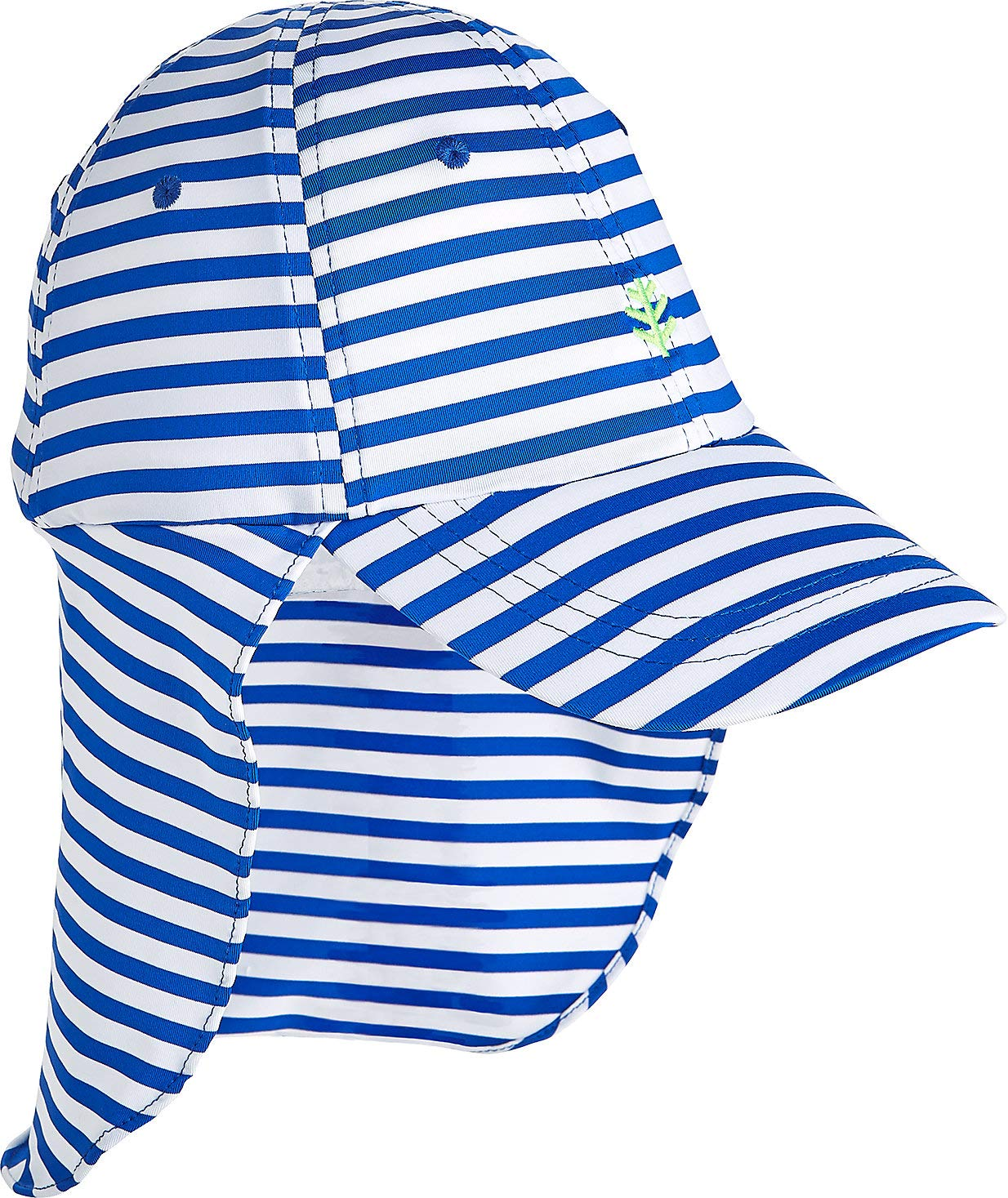 Coolibar UPF 50+ Kids' Surfs Up All Sport Hat - Sun Protective (Small/Medium- Baja Blue Stripe)