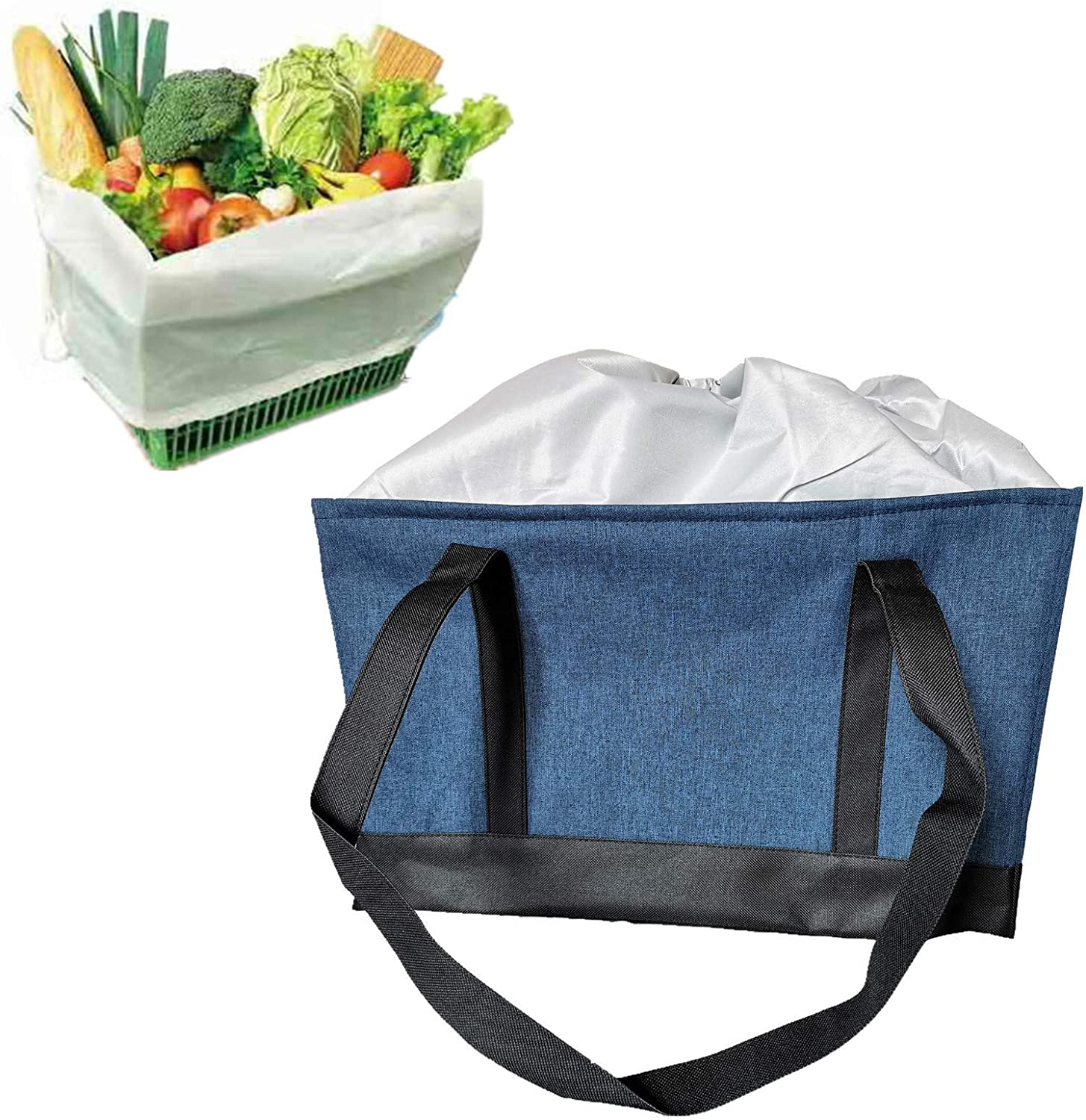 Large Reusable Insulated Grocery Shopping Cart Cooler Bag with Drawstring, Heavy Duty Alumimum Foam Tote Thermal Bag for Frozen Cold Hot Foods Transport, Blue