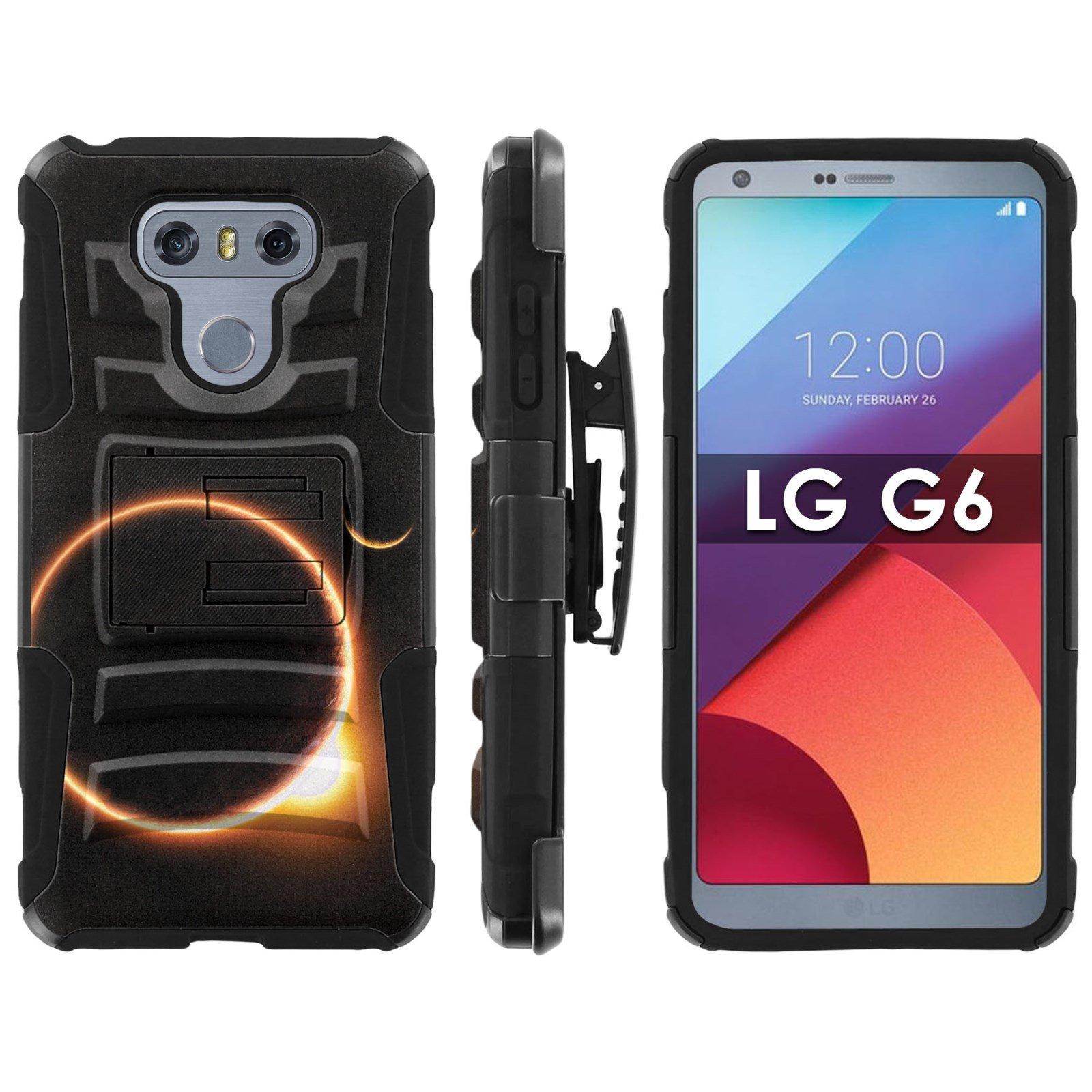 LG G6 Armor Case [Mobiflare] [Black/Black] Blitz Armor Phone Case with Holster - [Solar Eclipse]