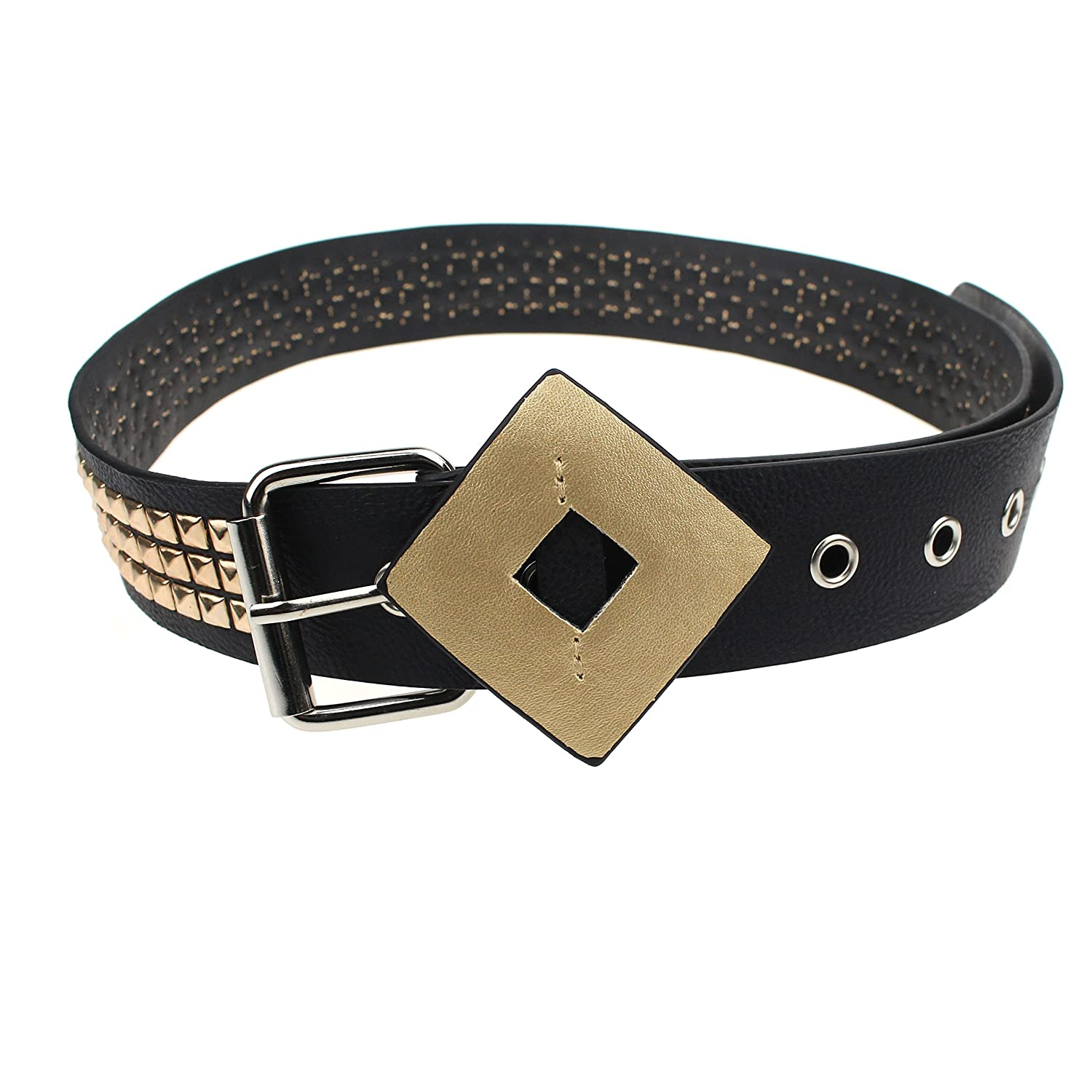 Coolcoco Gold Stud Black Leather Belt for Women Girls Kids Cosplay Accessory Outfit Prime HarleyBeltEU