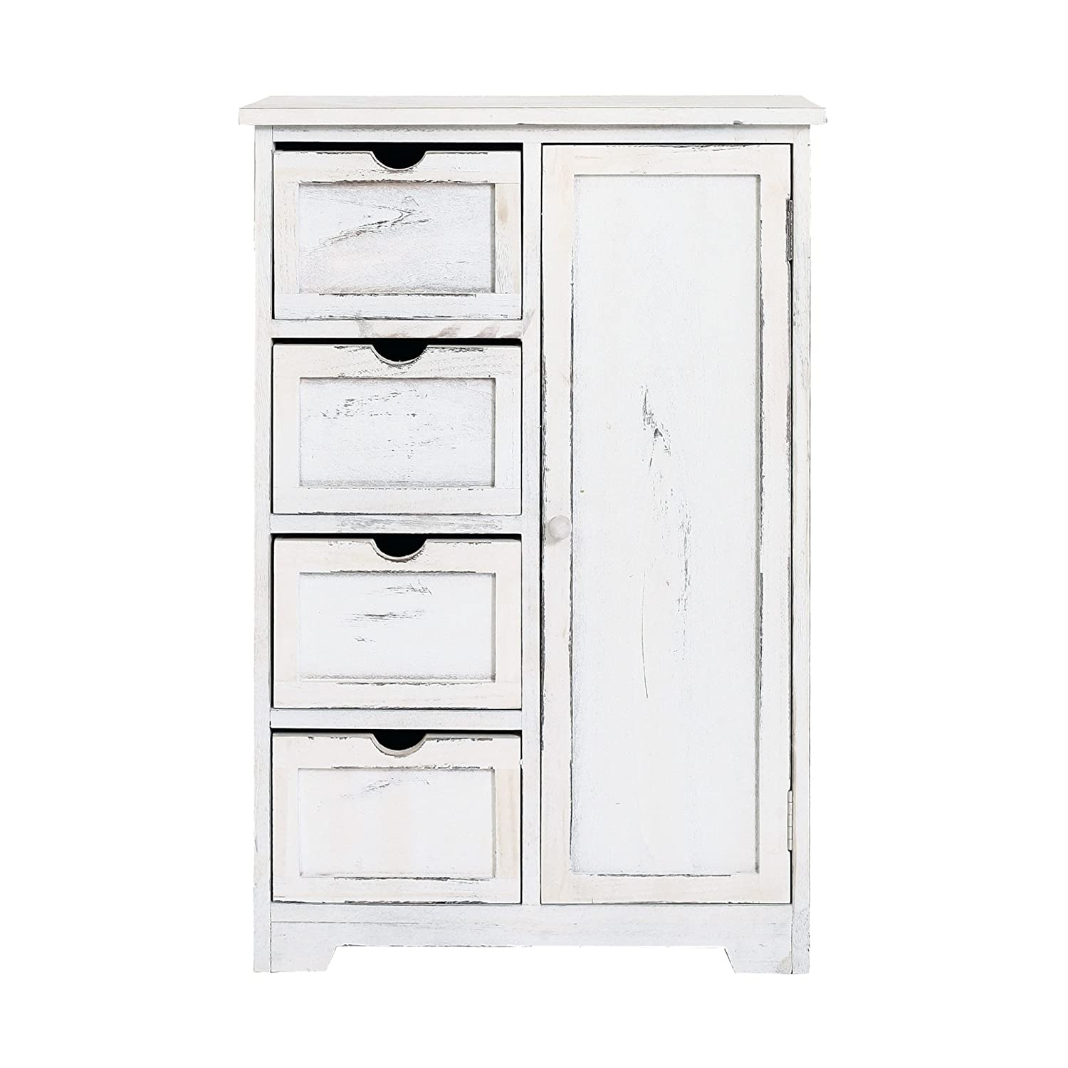 Rebecca srl Chest of Drawers Cupboard 4 Drawers 1 Door Wood White Retrò Barthroom Kitchen (Cod. RE4490)