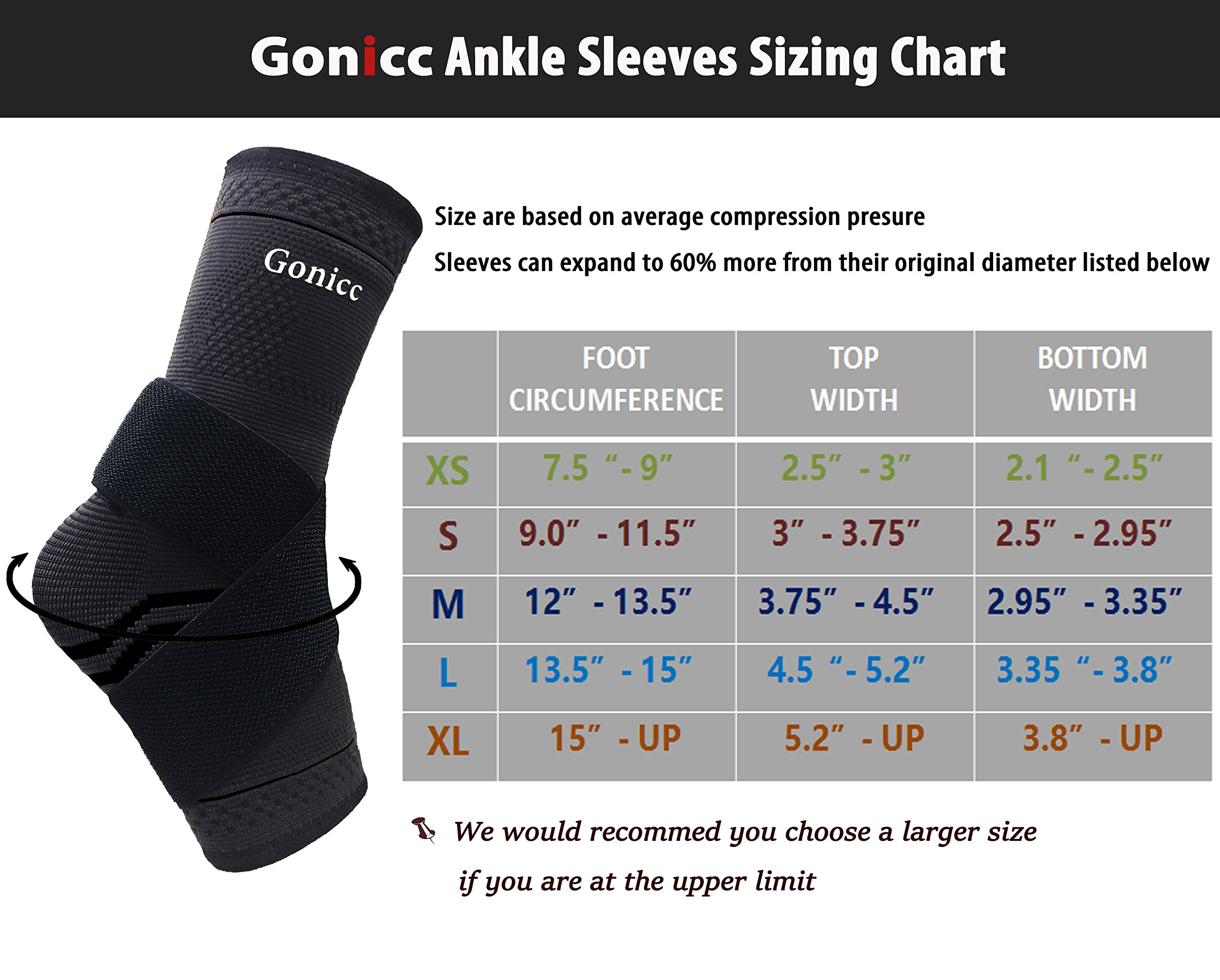 gonicc Professional Foot Sleeve Pair(2 Pcs) with Compression Wrap Support(Large, Black), Breathable, Stabiling Ligaments, Prevent Re-Injury, Boots Circulation, Soothe Achy Feet, Ankle Brace by gonicc (Image #5)