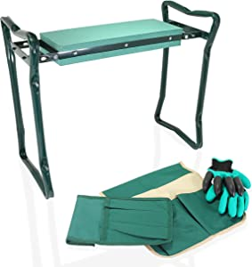 Urban Lizard Garden Kneeler and Seat with 2 Tool Pouches Foldable Stool for Easy Storage Protects Your Knees with EVA Foam Pad Ideal Gifts for Parents Comes with Bonus Garden Gloves