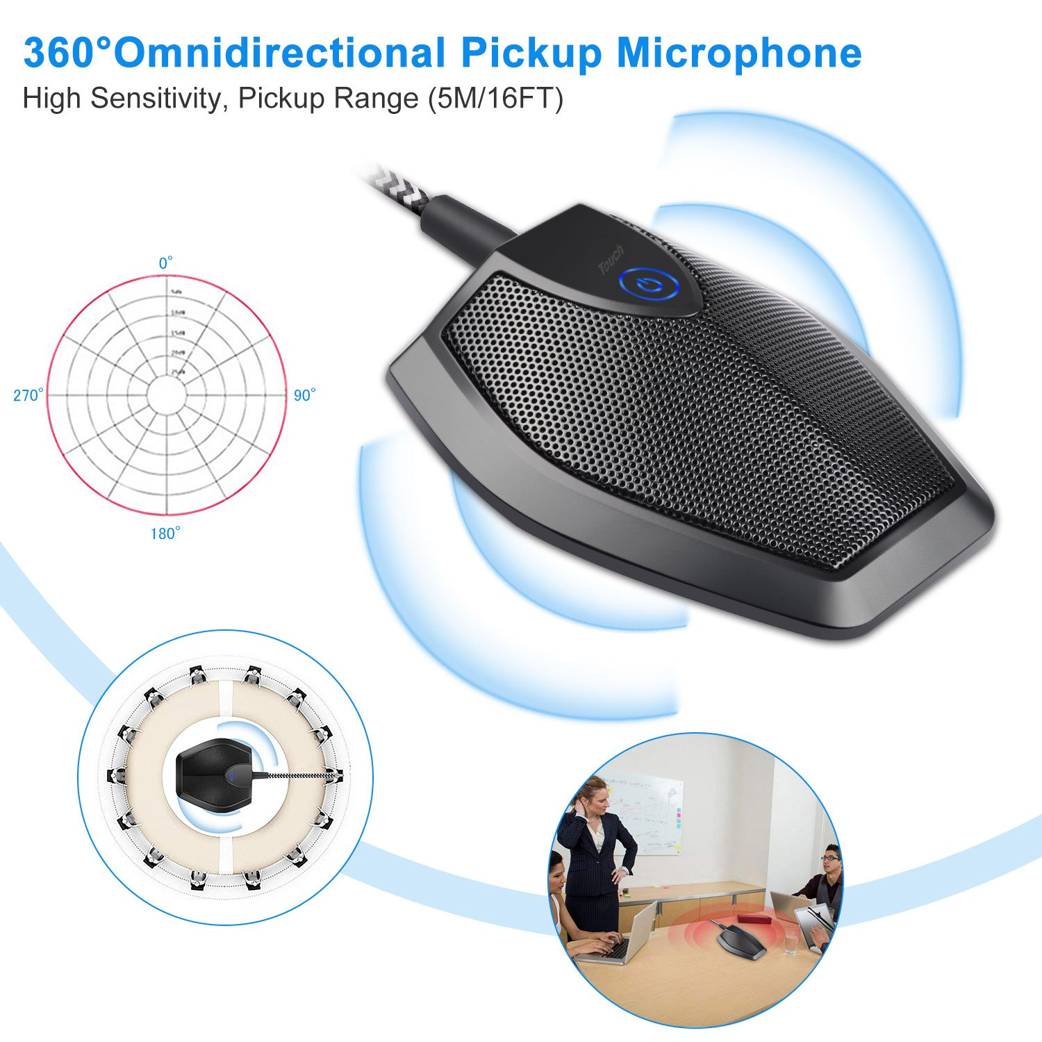 ELUTENG USB Condenser Microphone 360 ° Omnidirection Desktop Conference Microphone USB Computer Plug & Play with Mute Buttom Condenser PC Mic Compatible for Computer MacBook AIR/iMac / iMac Pro by ELUTENG (Image #2)