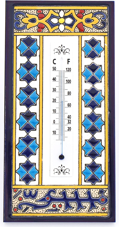 ART ESCUDELLERS TERMOMETRO Pared Modelo 4, termometro Decorativo de cerámica para Colgar Pintado a Mano con la técnica Cuerda Seca. 20cm x 10cm 1cm
