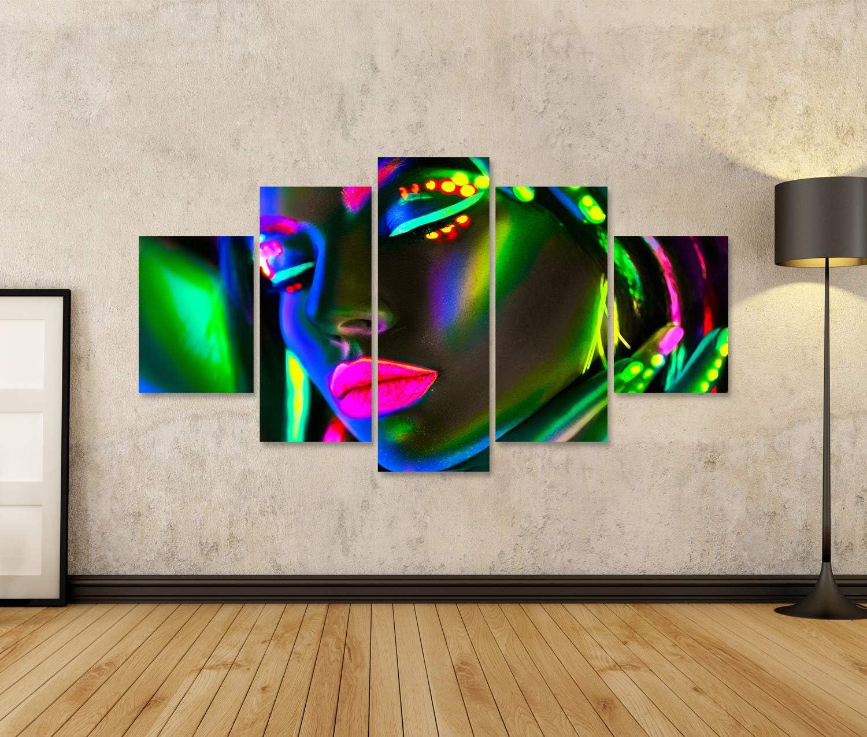 Tableau Tableaux sur toile Femme mannequin de mode en n/éon Portrait dune belle fille mannequin au maquillage fluorescent et color/é Impression Image Motif moderne D/écoration Affiche Photo SAM