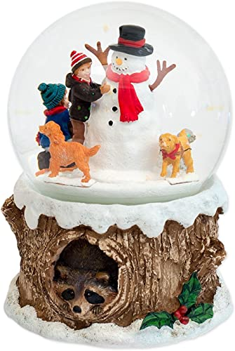 Spaniels and Children Holiday Musical Water Globe Plays Tune Jingle Bell Rock