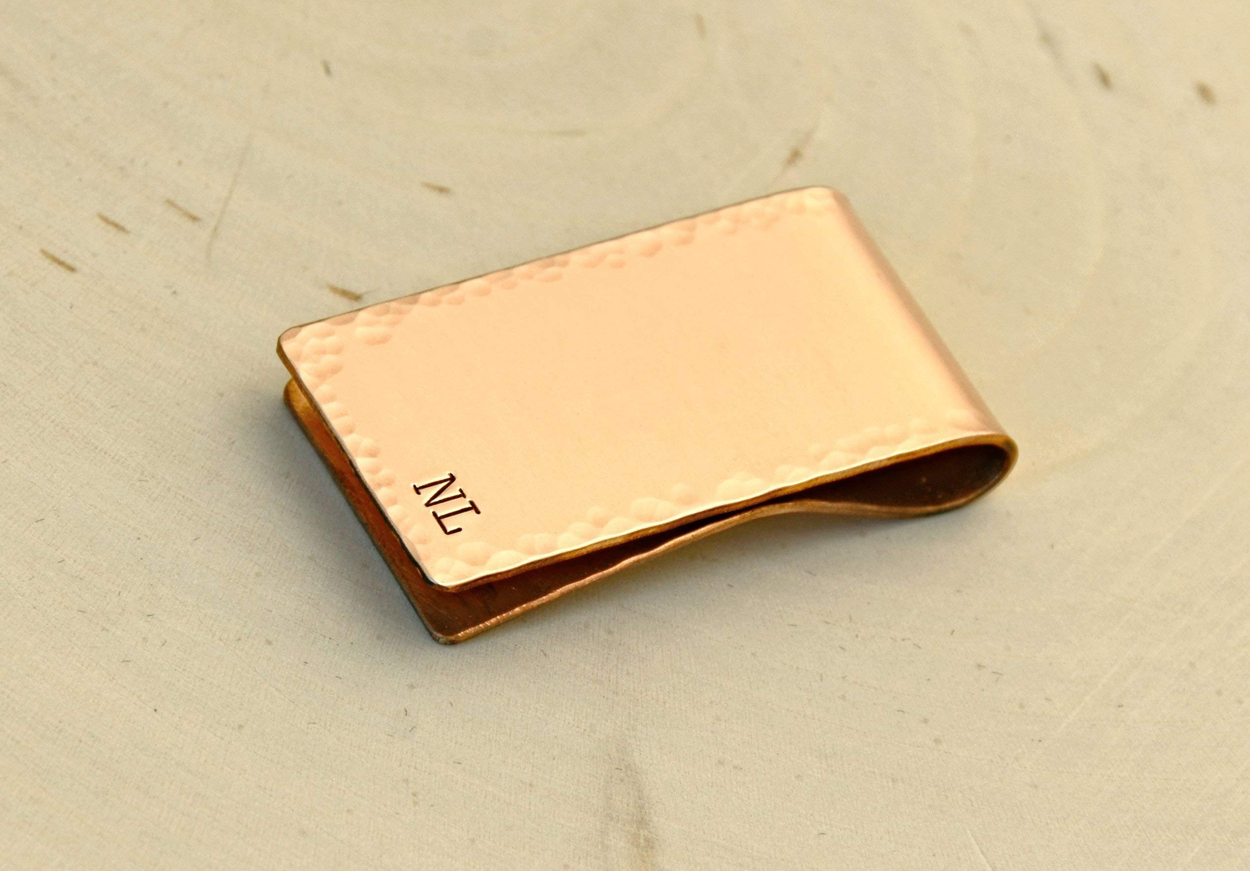 Personalized copper money clip with initials and hammered border