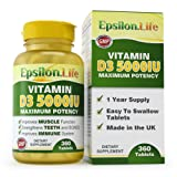 Epsilon Vitamin D3 5,000 IU - 1 Year Supply (360 Tablets) - Easy-To-Swallow Tablets - Strengthens Bones & Immune System