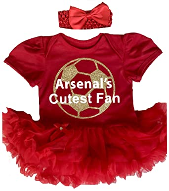 new arrive 5c1b5 7a9e5 Baby Girl's Arsenal Football Red Tutu Romper Headband, Newborn Baby  Football Kit, Gift