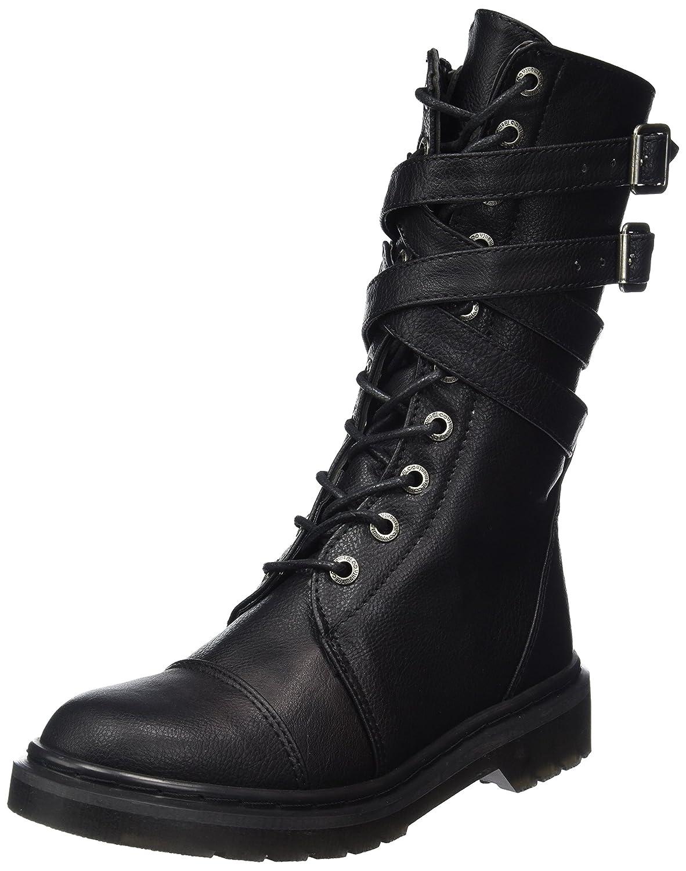 Demonia Women's Riv307/Bpu Boot Black Vegan Leather