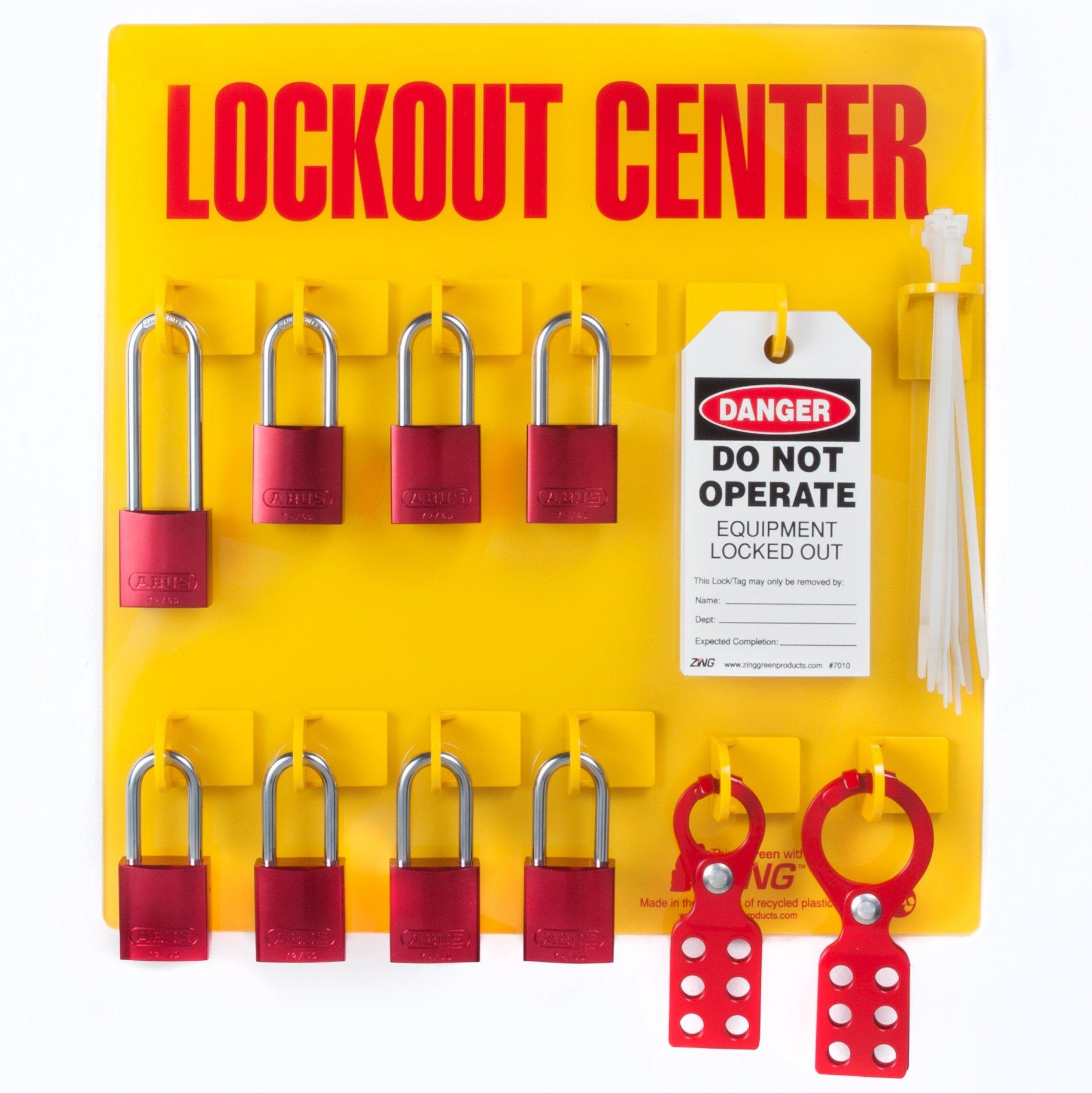 ZING 2727 RecycLockout Lockout Tagout Station, 8 Aluminum Padlock