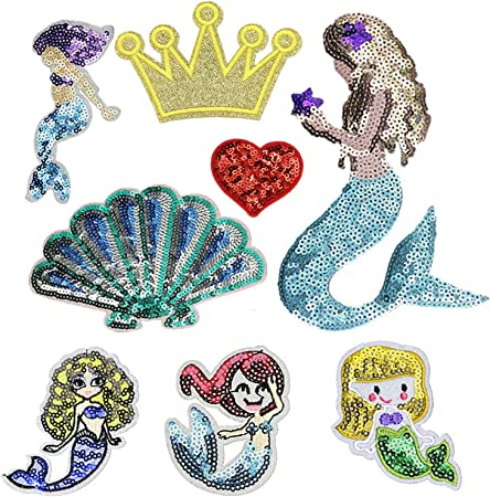 Embroidery Sequin Iron Sew On Patch Badge Bags Clothes Dress Applique Fabric DIY