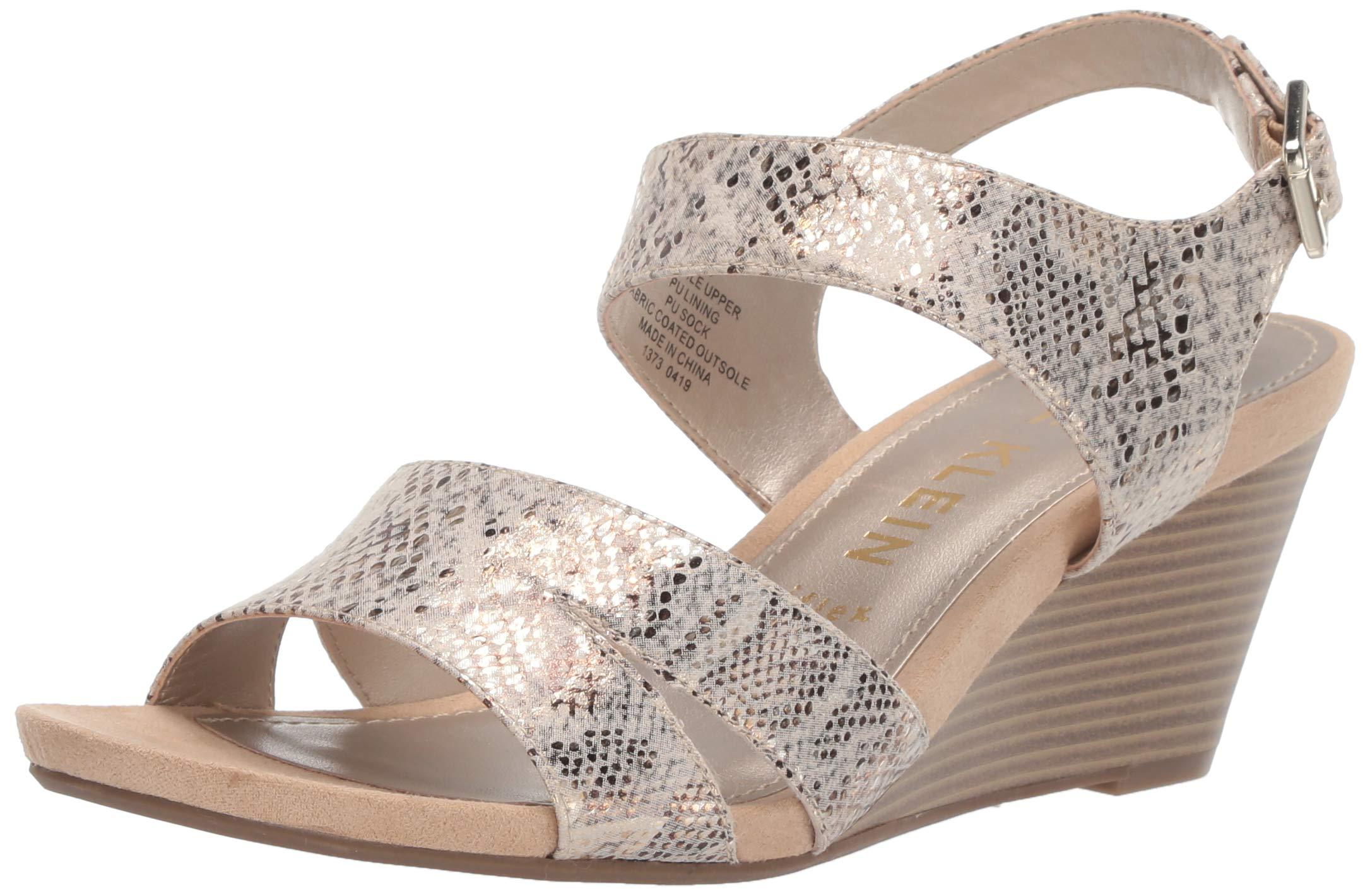 Anne Klein Women's SARRY Wedge Sandal, Natural Multi, 6 M US by Anne Klein