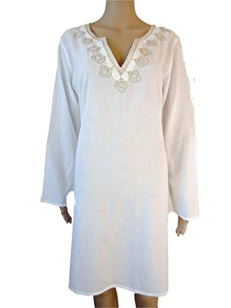 a4cc03c7311c Cotton Long Sleeved Embroidered Kaftan   Beach Cover Up   Tunic (L (UK 14  to 16)