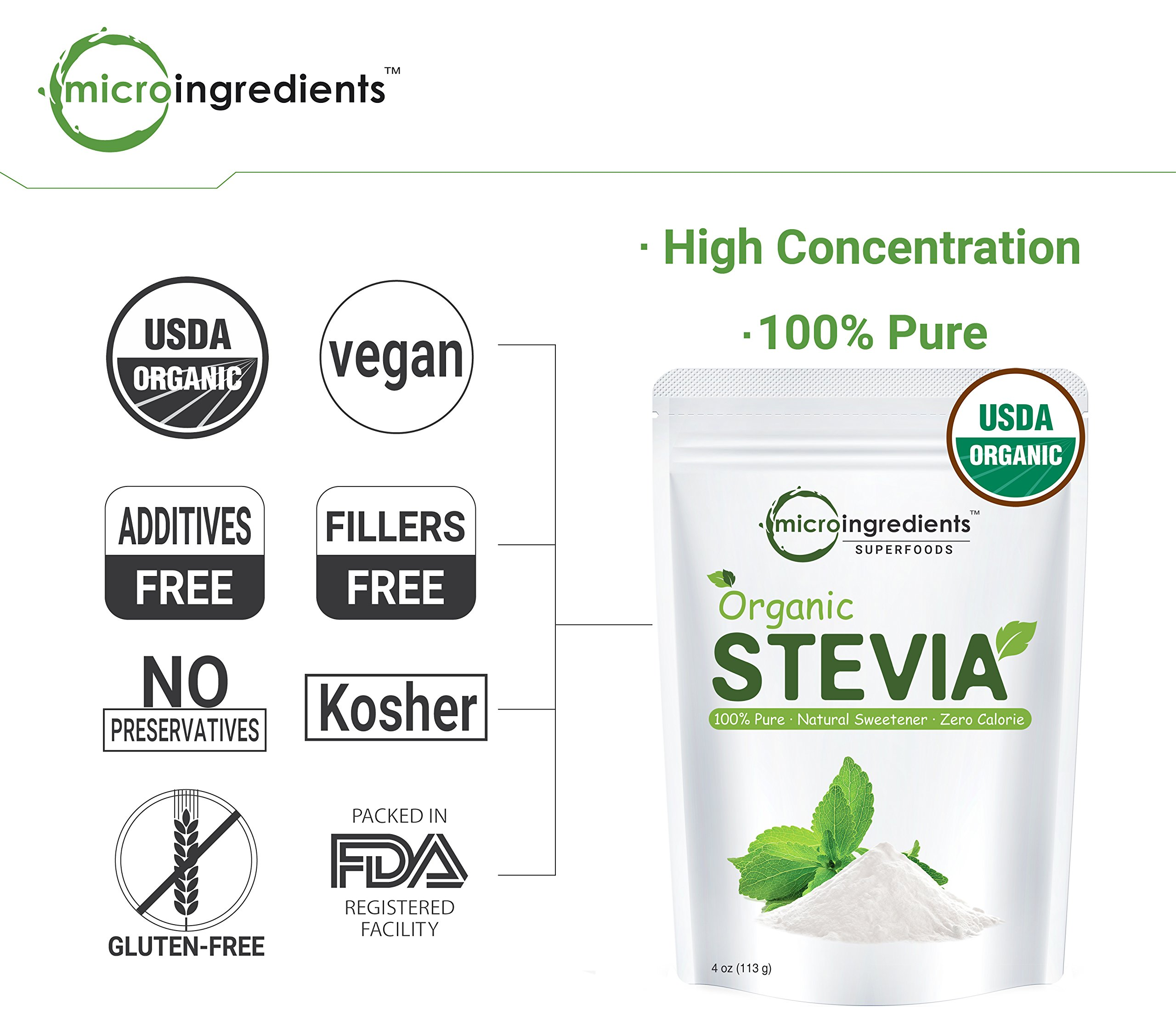 Pure Organic Stevia Powder - 8 Ounce / 1418 Serving, Zero Calorie, Natural Sweetener and Sugar Alternative, Best Organic Flavor for Smoothie, Beverage and Drinks, Non-GMO and Vegan Friendly by Micro Ingredients (Image #6)