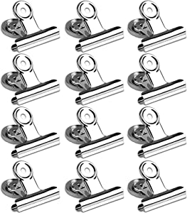 Magnetic Clips 2 inch, 12 Pack Heavy Duty Magnet Metal Hanging Clips for Fridge, Strong Magnetic Clips for Refrigerator Classroom Whiteboard, Picture, Office Magnets, Magnet Clipboard for White Boards