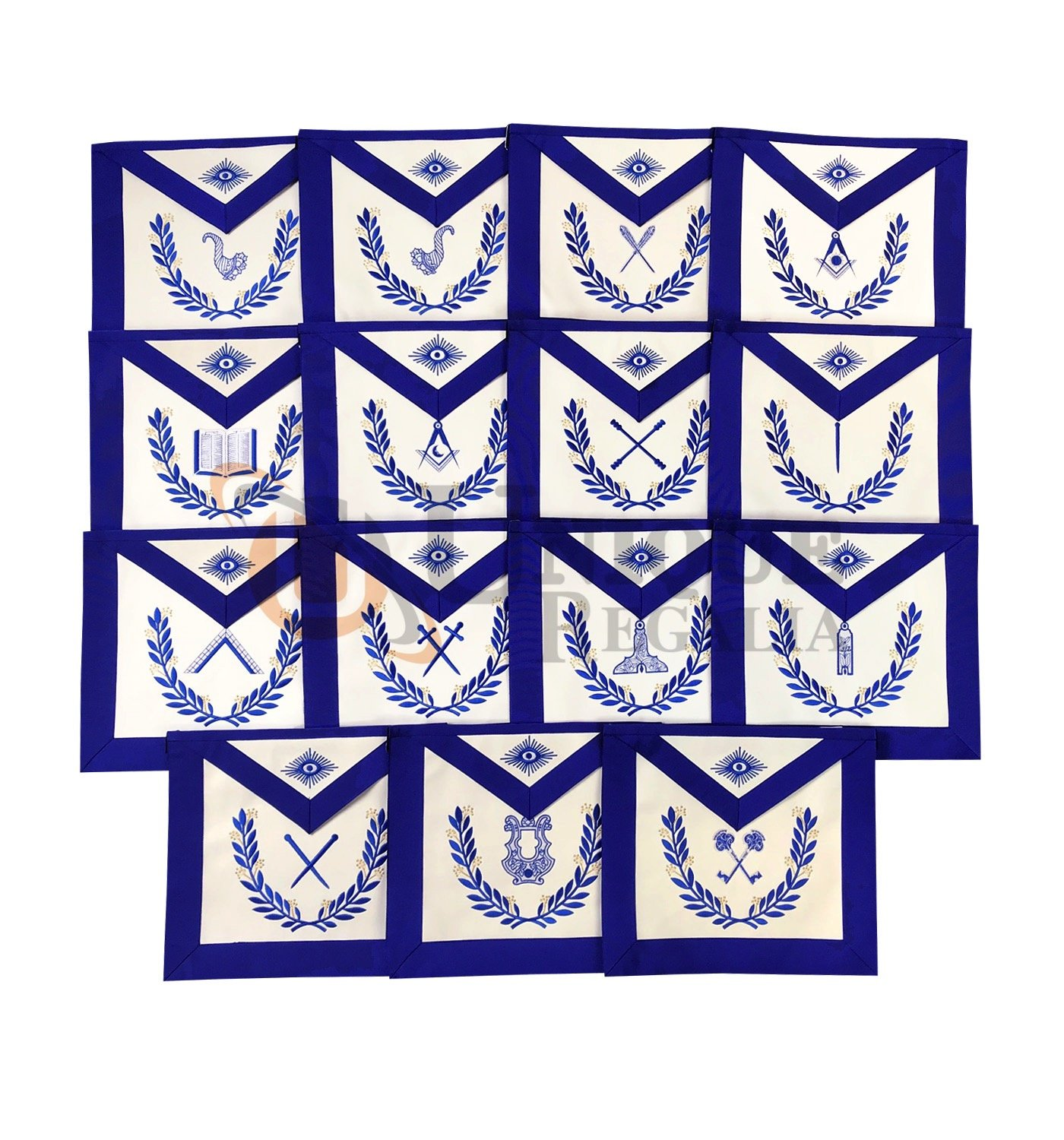 MasonicブルーLodge officers12 PiecesマシンEmbroidedエプロンセット   B074V7S4SM