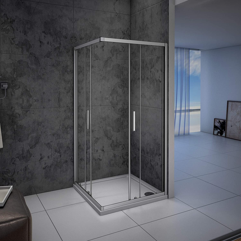 Mampara de ducha, Apertura Central, Puertas Correderas 80x80x185cm: Amazon.es: Bricolaje y herramientas