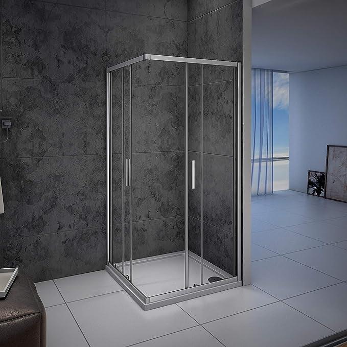 Mampara de ducha, Apertura Central, Puertas Correderas 100x80x185cm: Amazon.es: Bricolaje y herramientas