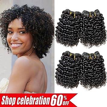 Ameli Hair 8 Inch 4 Bundles Short Human Hair Bundles Brazilian Kinky Curly Bundles Short Weave Hair Unprocessed Virgin Brazilian Hair Extensions 1b