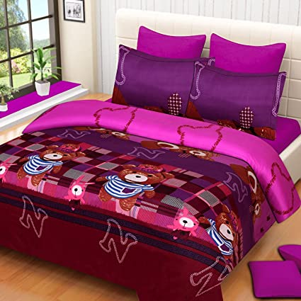 Veer Fab Present 3D Polyester Blend Double Bedsheet with 2 Pillow Cover (Multicolour, 90 X90)