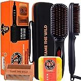 Tame's Elite Beard Straightener Brush Kit - ION Technology - Portable Anti-Scald Heated Beard Brush Straightener - Beard Soap