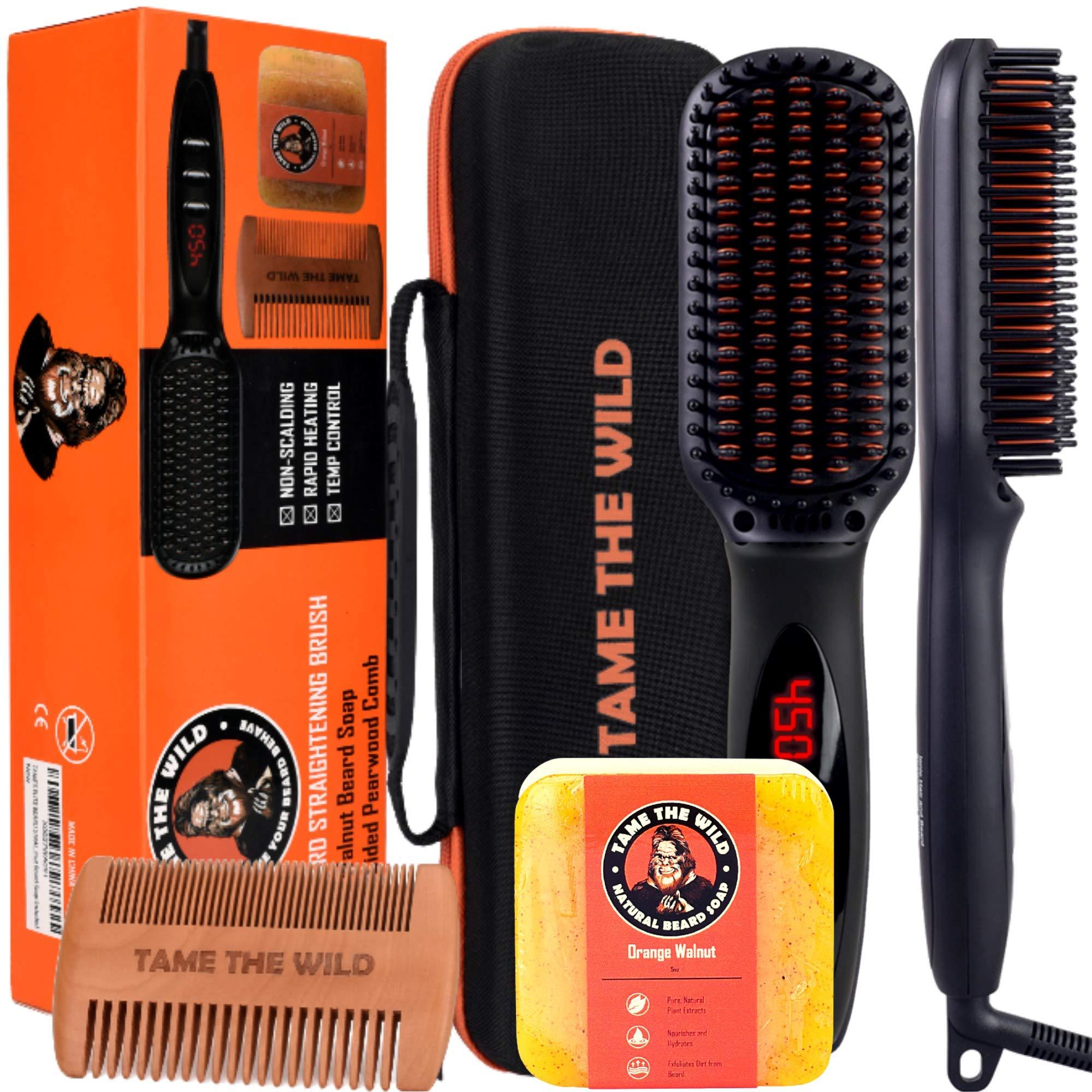 "Tame's Elite Beard Straightener Brush Kit - Anti-Scald Heated Beard Brush Straightener - Beard Soap - Pearwood Comb - Storage Case Included - Best for Beards Over 2"" Long."