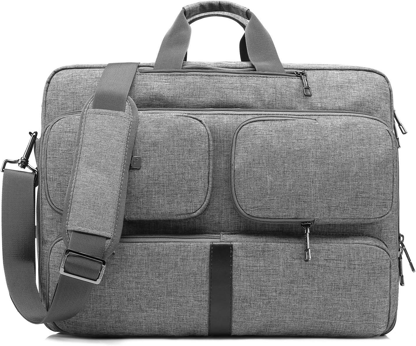 CoolBELL Convertible Laptop Bag Backpack Messenger Bag Shoulder Bag Business Briefcase Multi-Functional Travel Rucksack 17.3 Inches Laptop Case for Men/Women (Grey)