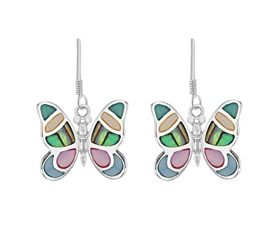 Tuscany Silver Sterling Silver Pave Shell Butterfly Drop Earrings PAlhuE0e