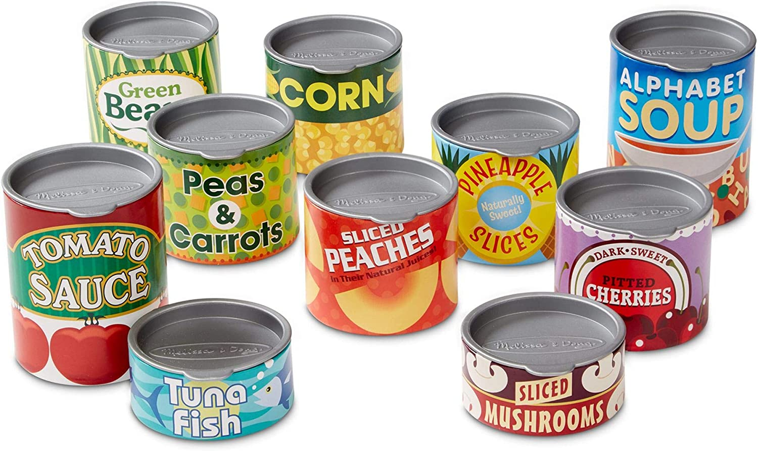 Melissa & Doug Let's Play House! Grocery Cans (Pretend Play, Pop-Off Lids, Sturdy Cardboard Construction, 10 Cans)