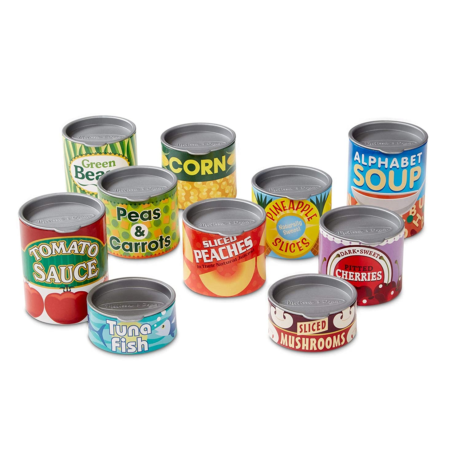 Melissa & Doug- House Grocery Cans 10 Latas de Juguete, Multicolor ...