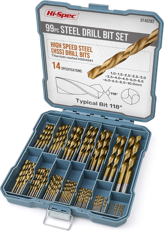 Perforaci/ón Para Bricolaje En Metal Juego de M/últiples Brocas Hi-Spec En Estuche de Almacenamiento Madera y Pl/ásticos Con Brocas de Acero Recubiertas de Titanio HSS
