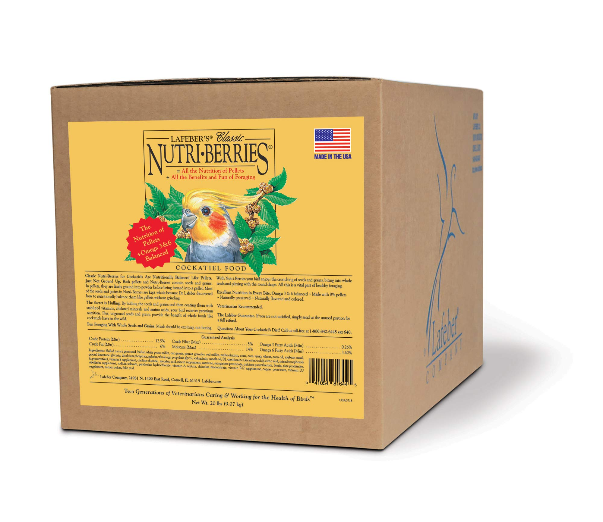 LAFEBER'S Classic Nutri-Berries Pet Bird Food, Made with Non-GMO and Human-Grade Ingredients, for Cockatiels, 20 lbs by LAFEBER'S